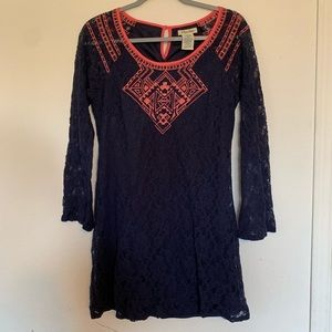 Flying Tomato Lace and Embroidery Mini Dress Sz Md